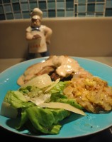 Low Country Squash with Pork Chops and Butter Leaf Salad