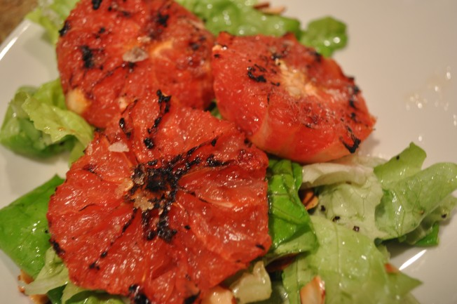 Grilled grapefruit on salad