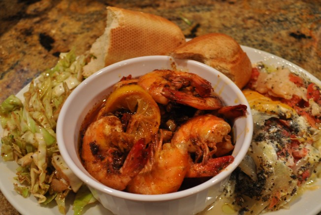 BBQ Shrimp plated with tomato pie