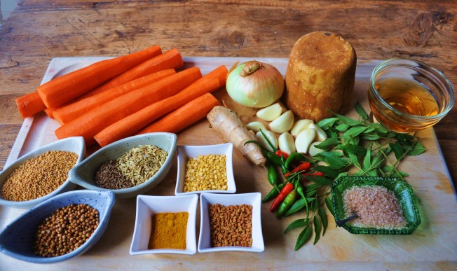 Carrot pickle mise en place