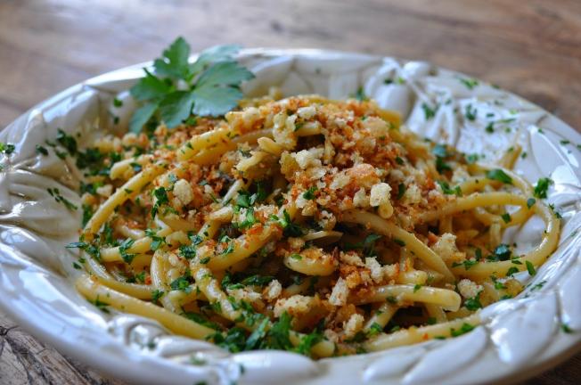 Bucatini with breadcrumbs