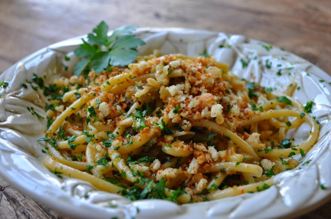 Bucatini with breadcrumbs