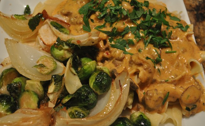 Plated Stroganoff with roasted veggies